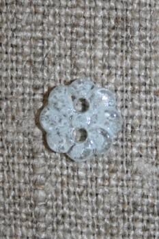 Lille lyseblå blomster-knap, 9 mm.