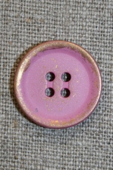 Knap i metal-look i guld/lyserød , 20 mm.