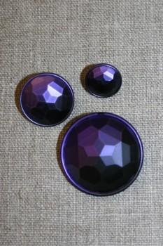 Faset-slebne knapper i metal look, mørkelilla