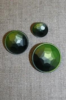Faset-slebne knapper i metal look, lime