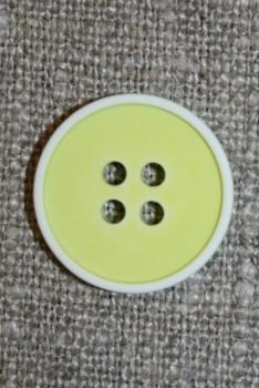 4-huls knap m/hvid kant, lys lime/gul 18 mm.