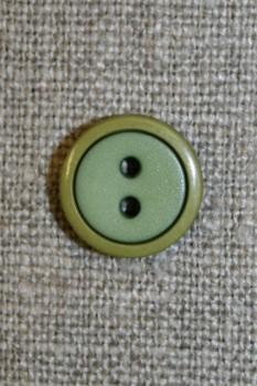 2-farvet knap lime/løvgrøn, 12 mm.