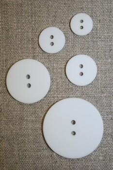 Hvid 2-huls knap i 15 mm.