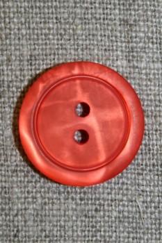 Koral-rød 2-huls knap, 20 mm.