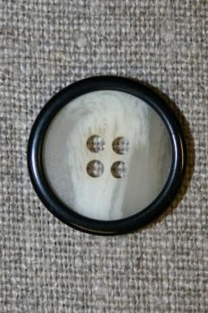 Off-white-meleret 4-huls knap m/sort kant