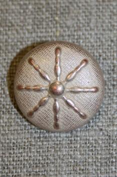 Metal-knap m/streger, gl.sølv/pudder, 20 mm.