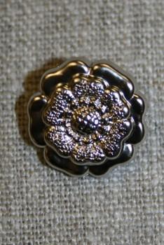 Mat knap sølv blomst, 18 mm.