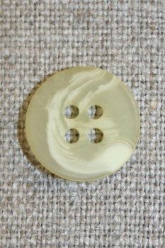 Buet 4-huls knap creme/lysegul, 15 mm.