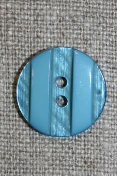 Lys petrol 2-huls knap, 18 mm.