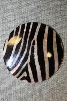 Stor perlemorsknap i brun zebra-look, 60 mm.