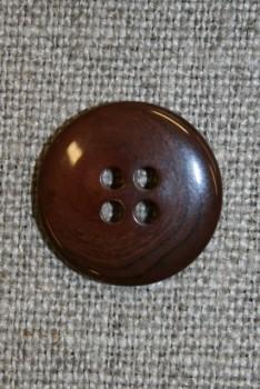 4-huls knap rød-brun-meleret, 18 mm.