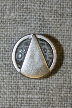 Mat sølvknap m/trekant, 15 mm.