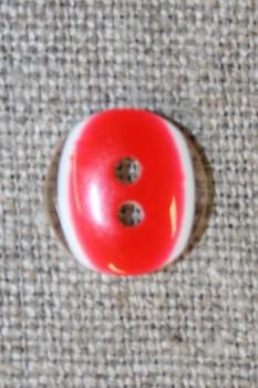 2-huls knap klar/rød, 13 mm.