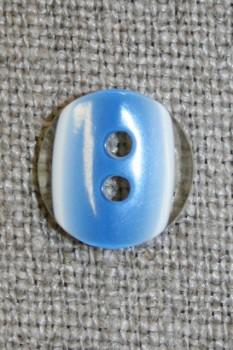 2-huls knap klar/blå, 13 mm.