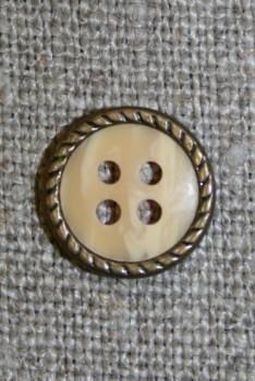 Creme 4-huls knap m/gl.guld kant