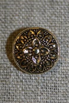 Knap m/blomst, guld/sort, 15 mm.