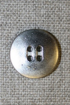 4-huls mat sølv-knap, 16 mm.
