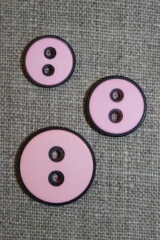 2-huls knap m/sort kant, lyserød, 18 mm.