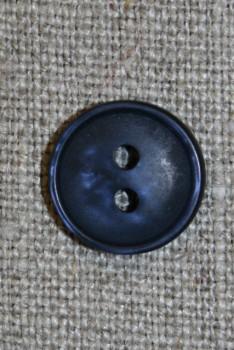 2-huls knap i mørkeblå, 13 mm.