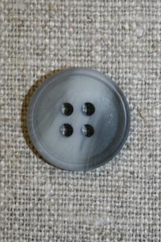4-huls knap lysegrå/grå meleret, 18 mm.