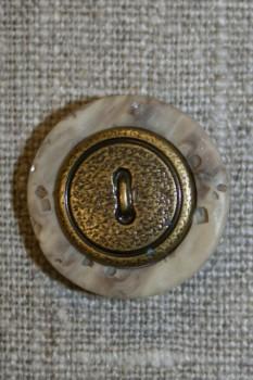 Knap gl.guld/sten-look, 20 mm.