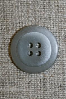 Lysegrå 4-huls knap m/kant, 20 mm.