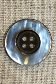 4-huls knap brun/beige, 25 mm.
