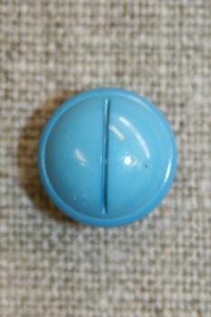 Rund knap m/rille, turkis-blå