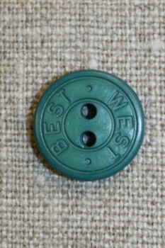 2-huls knap m/tekst, flaskegrøn 15 mm.