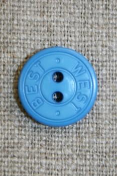 2-huls knap m/tekst, klar blå 15 mm.
