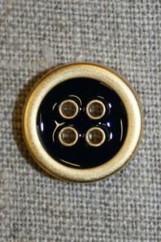 4-huls knap m/guld-kanter, sort 18 mm.