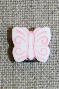 Knap m/sommerfugl, hvid/lyserød