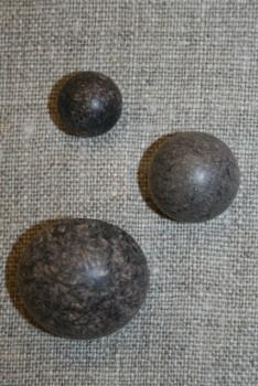 Rund knap i mørkebrun 25 mm.