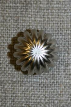 Knap rund m/riller, sølv 15 mm.