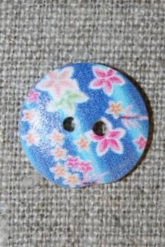 Knap træ m/print, rund blå m/blomster