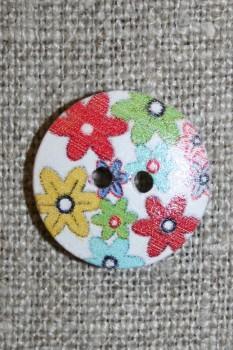 Knap træ m/print, rund hvid m/blomster