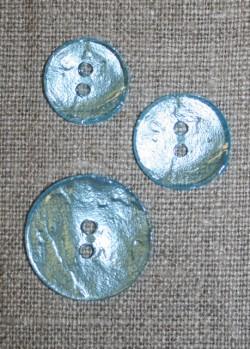 2-huls knap lys turkis perlemors-look, 18 mm.