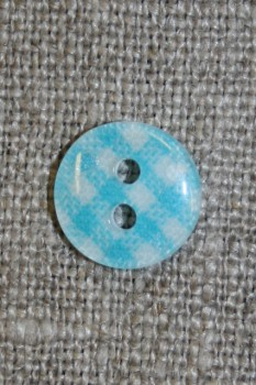 Ternet 2-huls knap turkis/hvid, 11 mm.