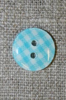 Ternet 2-huls knap turkis/hvid, 13 mm.