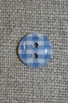 Ternet 2-huls knap blå/hvid, 11 mm.