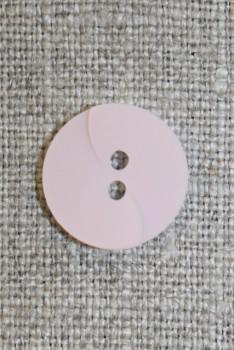 Babylyserød knap m/drejet look, 15 mm.