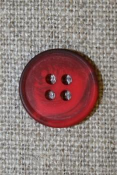 4-huls knap meleret rød/mørkerød, 15 mm.