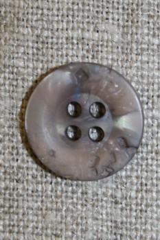 4-huls knap krakeleret lys grå-brun, 15 mm.