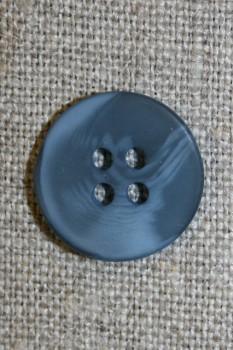 4-huls knap denim blå-meleret, 18 mm.