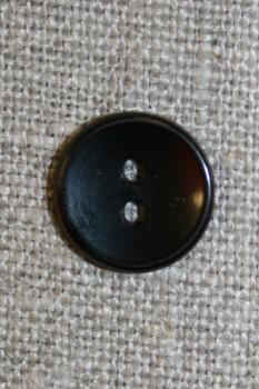 2-huls knap sort, 13 mm.