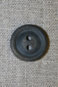 Brun meleret 2-huls knap m/kant, 20 mm.