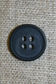 4-huls knap støvet mørkeblå, 15 mm.