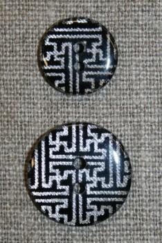 2-huls knap m/grafisk mønster, sort/sølv