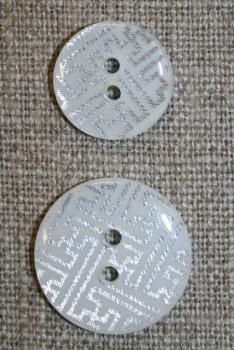2-huls knap m/grafisk mønster, hvid/sølv, 20 mm.