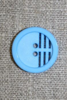 2-huls knap m/riller, lys blå